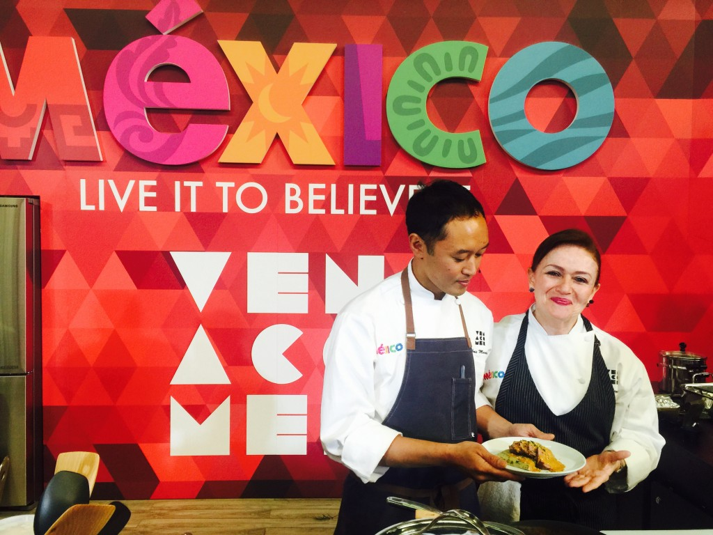 Chefs Margarita Carrillo & Arnie Marcella presented a dish inspited by their trip to Guadalajara at the Mexican Pavillion inside the NYCFWW